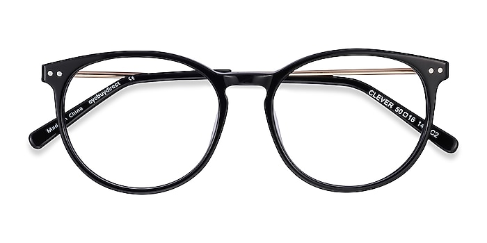 Black Clever -  Lightweight Acetate, Metal Eyeglasses