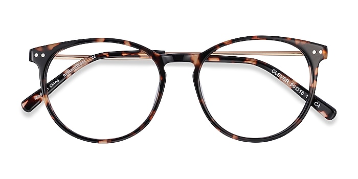 Tortoise Clever -  Lightweight Acetate, Metal Eyeglasses