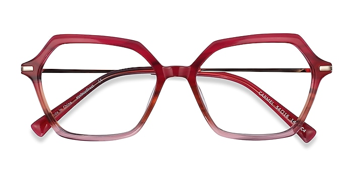 Raspberry Striped Carmel -  Fashion Acetate, Metal Eyeglasses