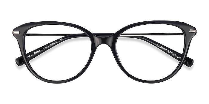 Black Turner -  Lightweight Acetate, Metal Eyeglasses