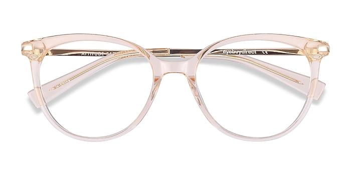 Clear Melon Attitude -  Fashion Acetate, Metal Eyeglasses