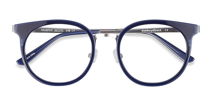 Navy Murphy -  Vintage Acetate, Metal Eyeglasses