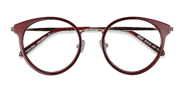 Burgundy & Gold Jezzie -  Vintage Acetate, Metal Eyeglasses