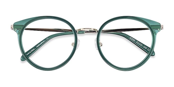 Emerald Green & Gold Jezzie -  Vintage Acetate, Metal Eyeglasses