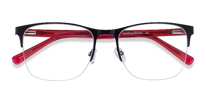 Shiny Black & Red Emmerson -  Acetate, Metal Eyeglasses