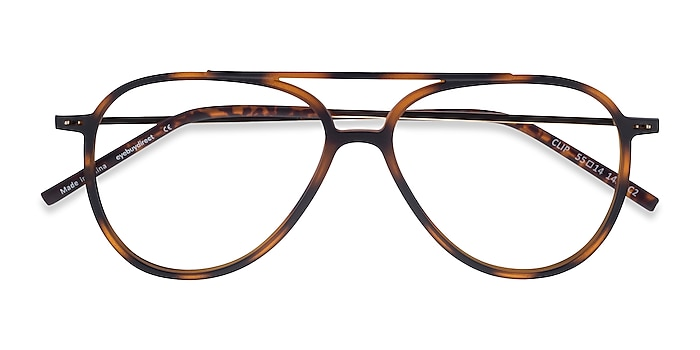 Matte Tortoise & Gold Clip -  Geek Plastic, Metal Lunettes de vue