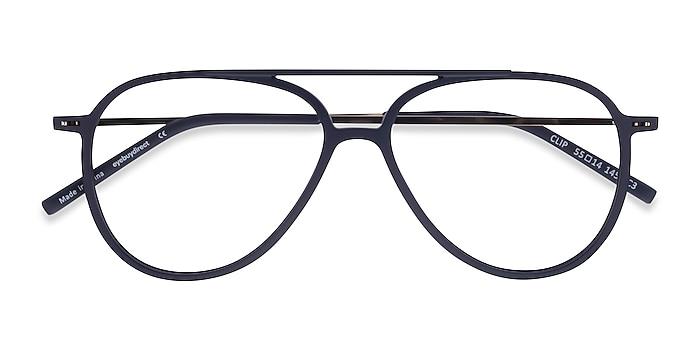 Matte Navy & Gold Clip -  Geek Plastic, Metal Eyeglasses