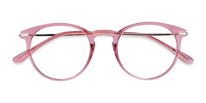 Clear Pink & Rose Gold Particle -  Colorful Plastic, Metal Eyeglasses