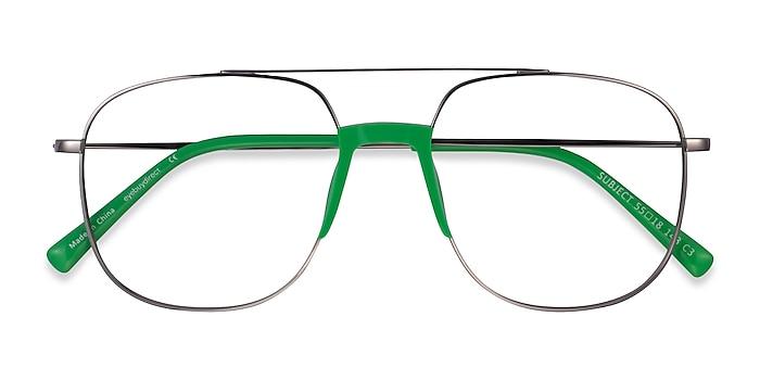 Gunmetal & Green Subject -  Acetate, Metal Eyeglasses