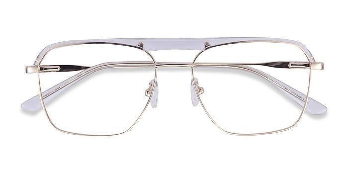 Clear & Gold Dynamo -  Acetate, Metal Eyeglasses