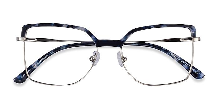 Blue Floral & Silver Further -  Acetate, Metal Eyeglasses
