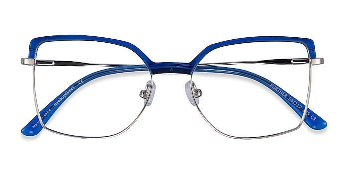 Blue & Silver Further -  Acetate, Metal Eyeglasses