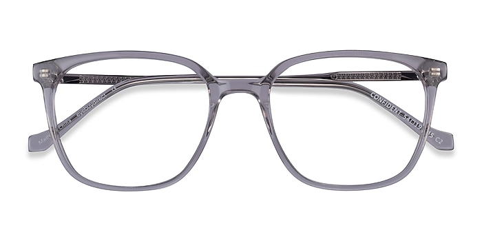 Clear Gray Silver Confident -  Acetate Eyeglasses