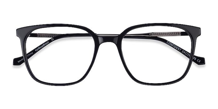 Black Silver Confident -  Acetate Eyeglasses