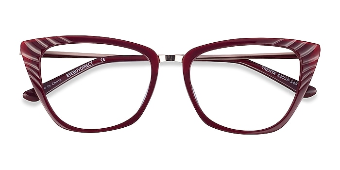 Burgundy Gold Trenta -  Fashion Acetate Eyeglasses