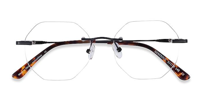 Matte Black Generous -  Lightweight Metal Eyeglasses