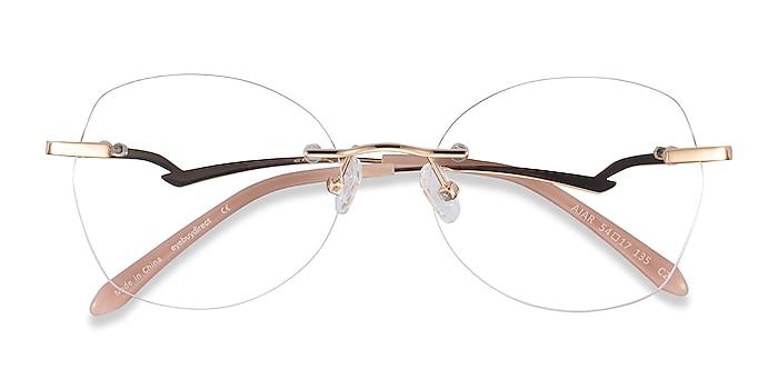 Gold Ajar -  Vintage Metal Eyeglasses