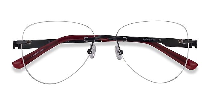 Black Burgundy Ride -  Metal Eyeglasses