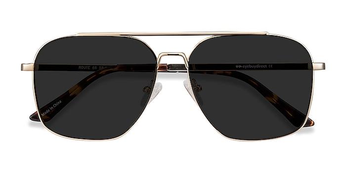 Golden Route 66 -  Vintage Metal Sunglasses