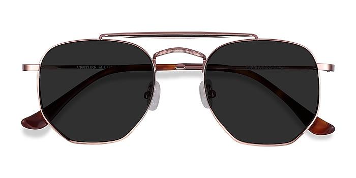 Rose Gold Venture -  Vintage Metal Sunglasses