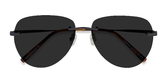 Matte Black Martin -  Metal Sunglasses