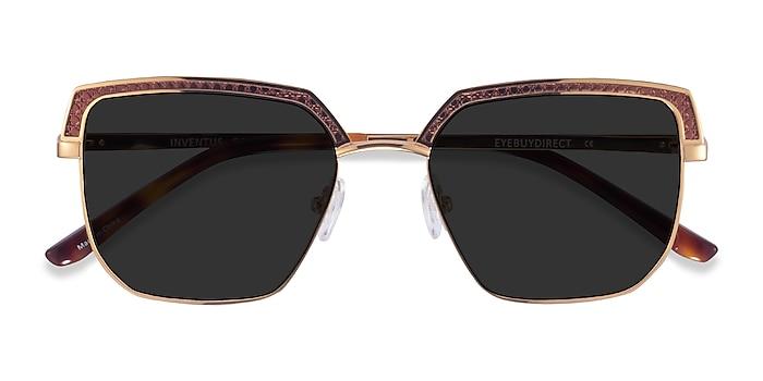 Brown Gold Inventus -  Metal Sunglasses