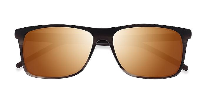 Matte Striped Brown Catch -  Acetate Sunglasses