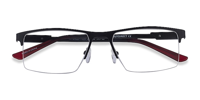 Black  Red Interception -  Metal Eyeglasses