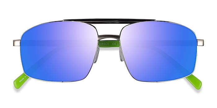 Silver Green Punt -  Acetate Sunglasses