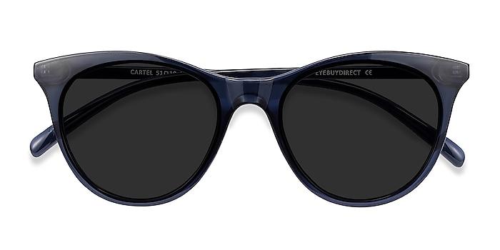 Clear Navy Cartel -  Plastic Sunglasses