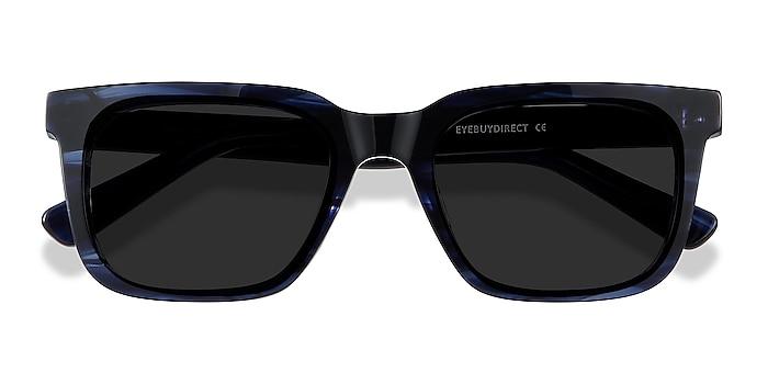 Blue Striped Riddle -  Vintage Acetate Sunglasses