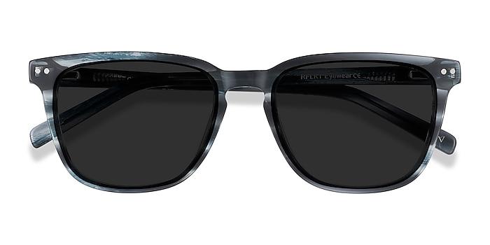 Blue Striped City -  Acetate Sunglasses
