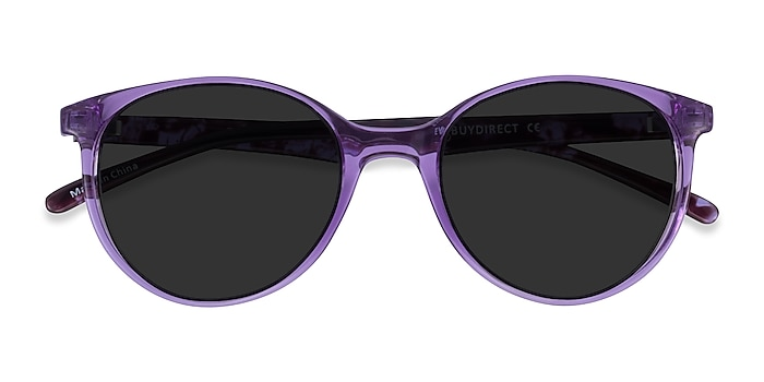 Clear Purple Floral Talent -  Plastic Sunglasses