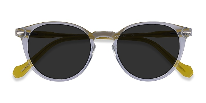 Clear Yellow Origami -  Acetate Sunglasses