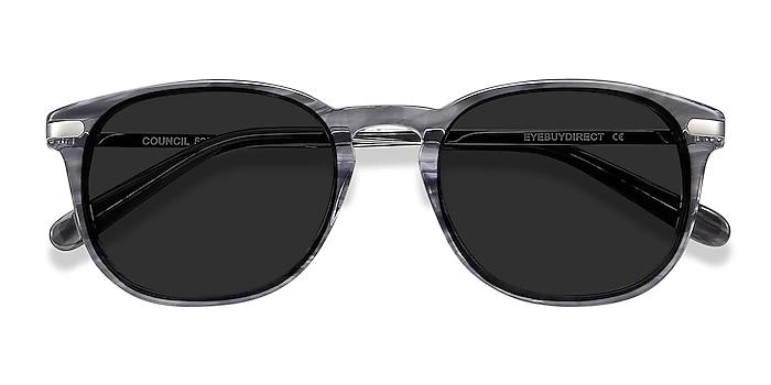 Gray Striped Council -  Acetate, Metal Sunglasses