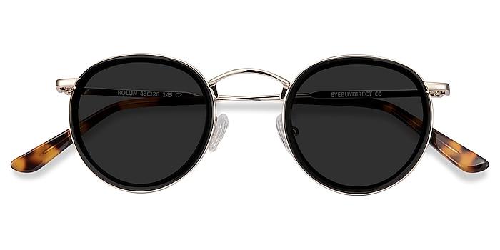 Black Rollin -  Vintage Acetate, Metal Sunglasses
