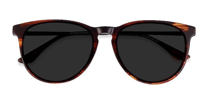 Brown Striped Sun Ultraviolet -  Acetate, Metal Lunettes de soleil