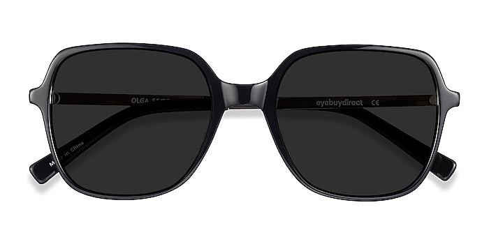 Black & Gold Olga -  Vintage Acetate, Metal Sunglasses