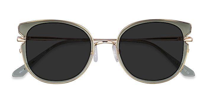 Clear Green Gold Fascination -  Acetate Sunglasses