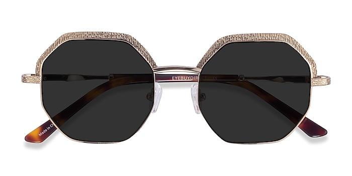 Shiny Gold Futurist -  Acetate Sunglasses