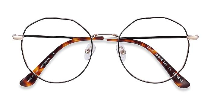 Black & Gold Julia -  Lightweight Titanium Eyeglasses