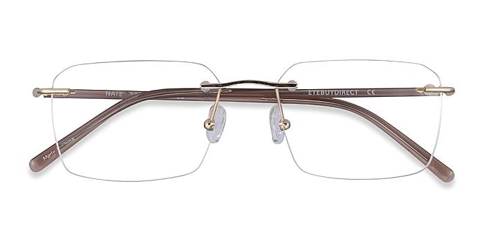 Gold Brown Nate -  Titanium Eyeglasses