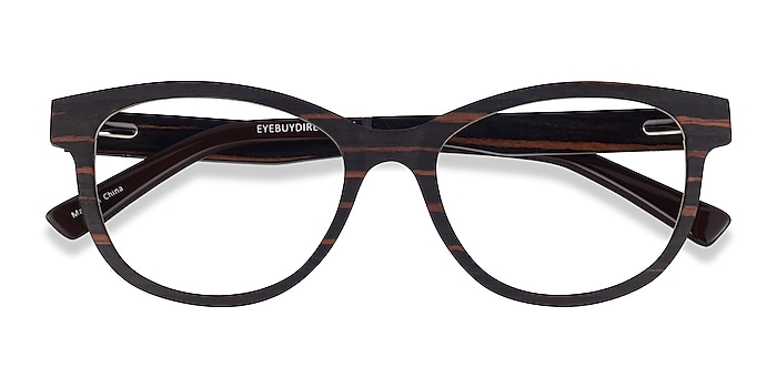 Striped Dark Wood Botany -  Wood Texture Eyeglasses