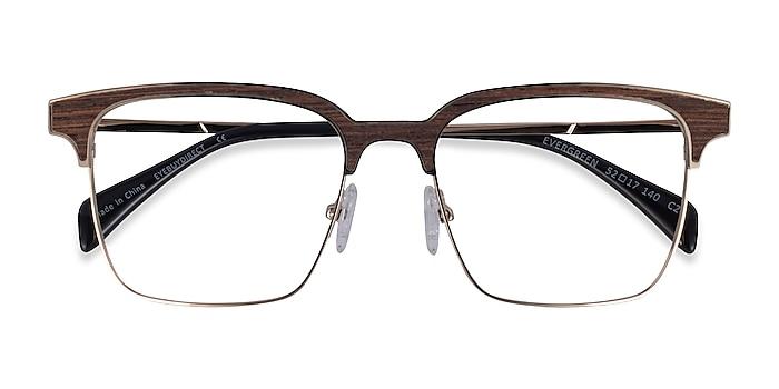 Gold & Wood Evergreen -  Classic Wood Texture Eyeglasses