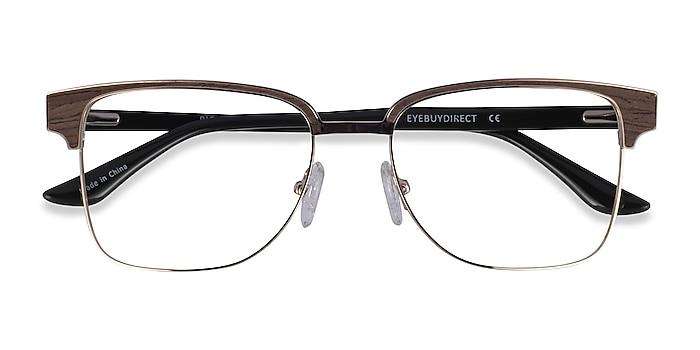 Gold, Black & Dark Wood Biome -  Classic Acetate Eyeglasses