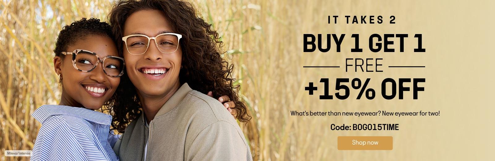 BUY 1 GET 1 FREE + 15% OFF code:BOGO15TIME